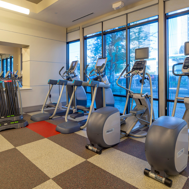 Fitness center at Block 334 Apartments in Houston, TX.