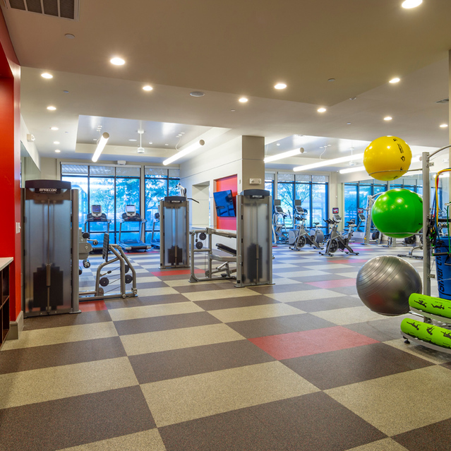 Fitness center entry at Block 334 Apartments in Houston, TX.