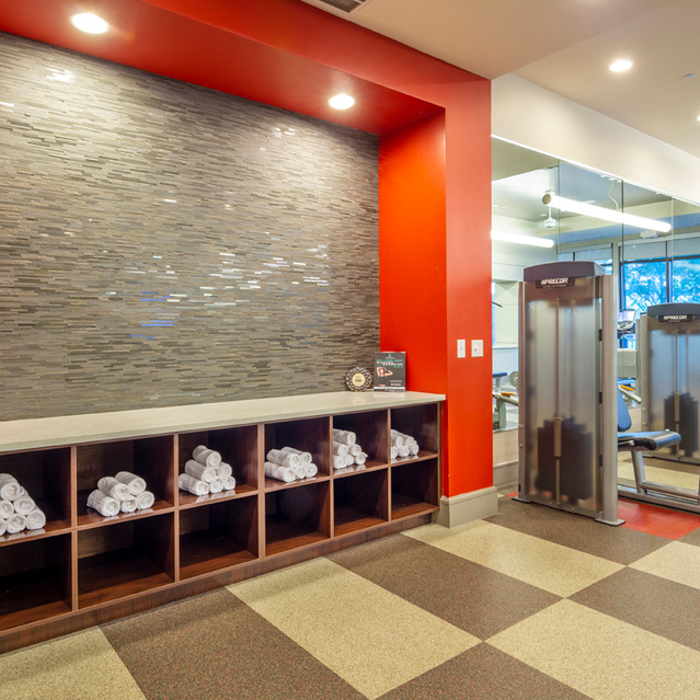 Fitness center towels at Block 334 Apartments in Houston, TX.