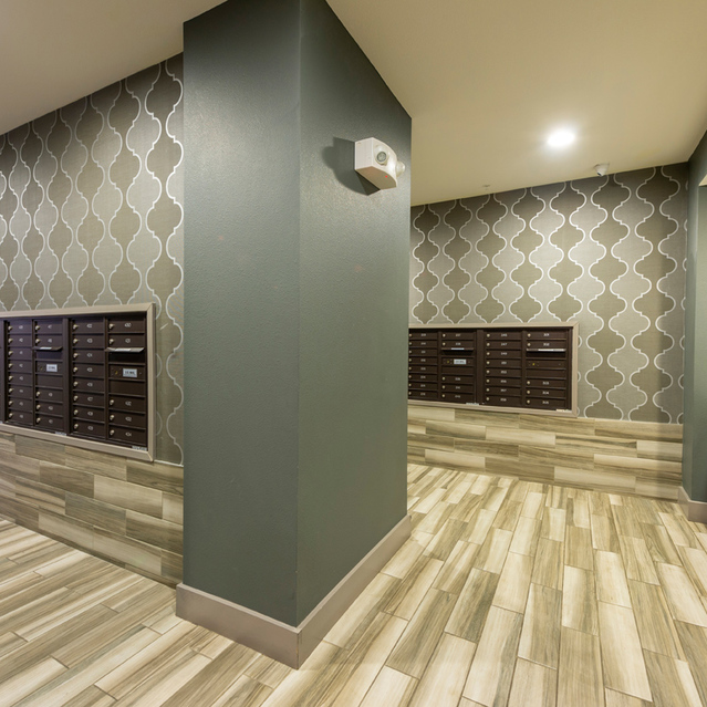 Indoor mailroom at Block 334 Apartments in Houston, TX.