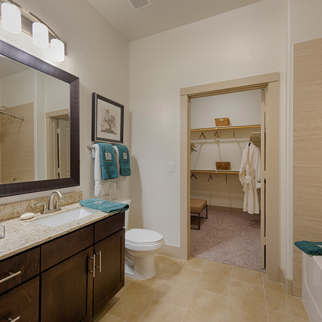 Master bathroom at Block 334 Apartments in Houston, TX.