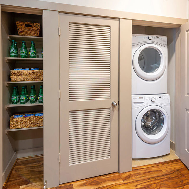 Stackable laundry at Block 334 Apartments in Houston, TX.