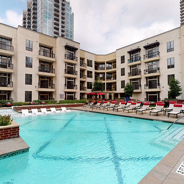 Pool at Block 334 Apartments in Houston, TX.