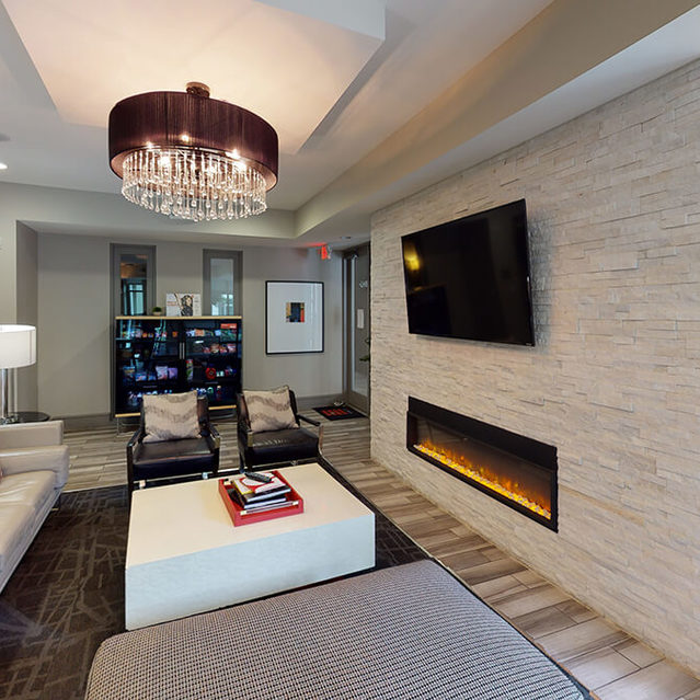 Social lounge at Block 334 Apartments in Houston, TX.